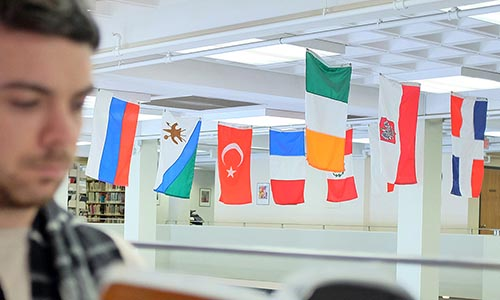International flags hanging in library