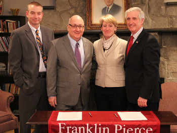 Franklin Pierce President Card with Provost Mooney and Boston Herald Editor and Publisher