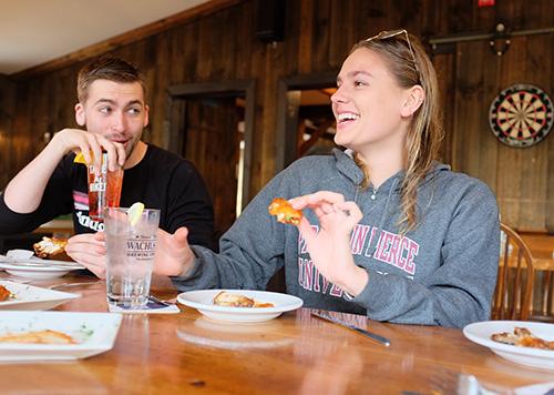 Franklin Pierce students enjoying Wing Night at Emma's 321 Pub & Kitchen